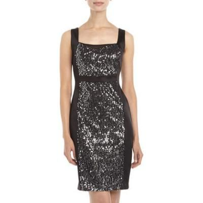 $119, Black Sequin Sheath Dress: Jax Sequin Center Sheath Dress Black. Sold by Last Call by Neiman Marcus. Click for more info: https://lookastic.com/women/shop_items/108341/redirect