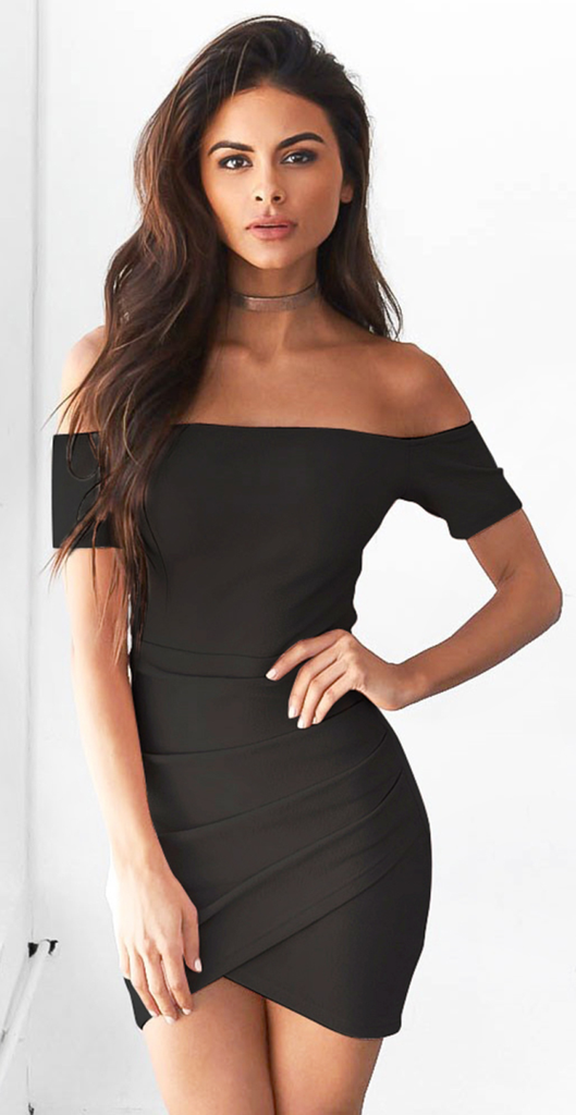6e837ef46f6 Black Off Shoulder Bodycon Irregular Dress