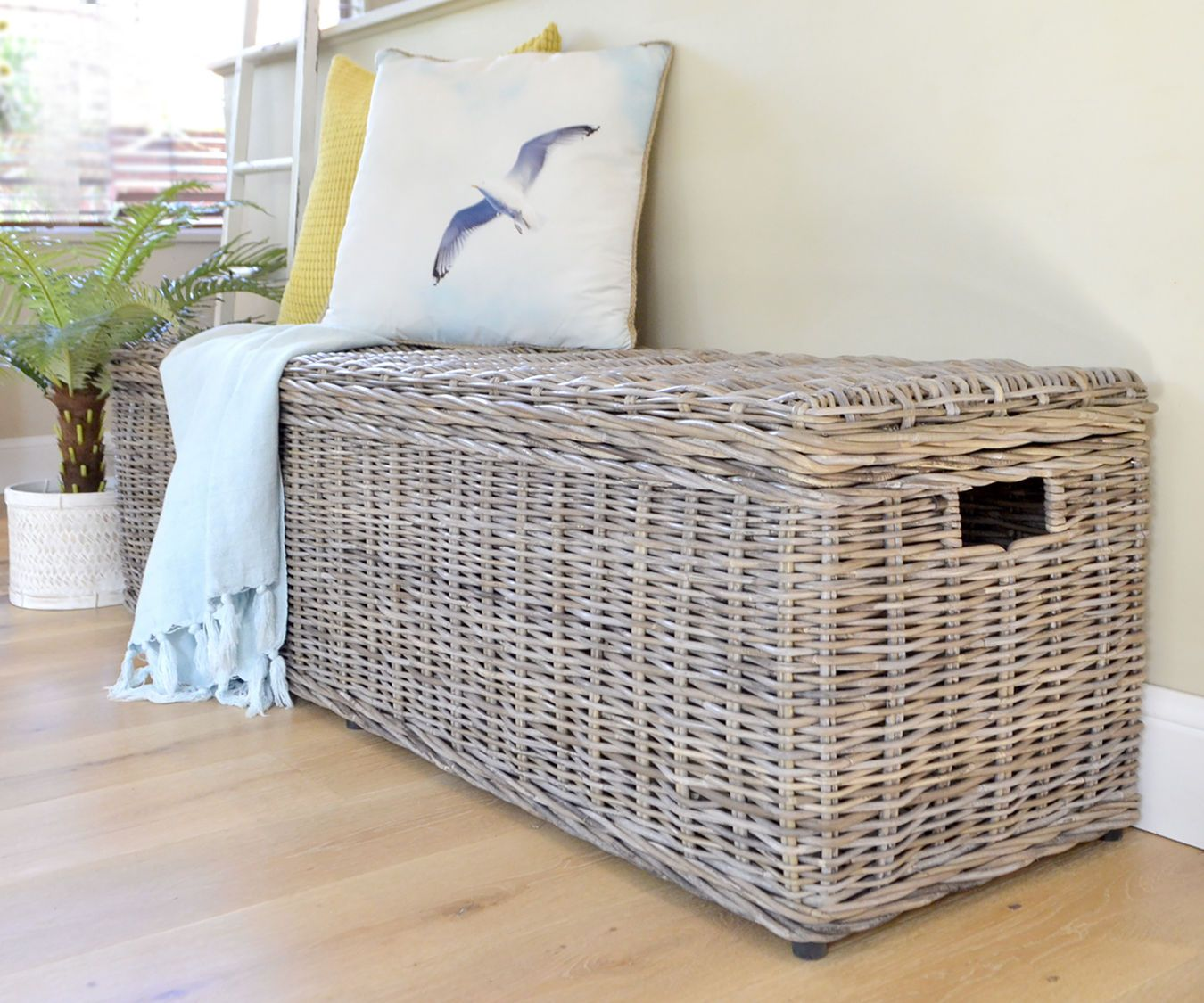 Tremendous Long Rattan Trunk Antique Grey Cane Blanket Box Chest Bench Creativecarmelina Interior Chair Design Creativecarmelinacom