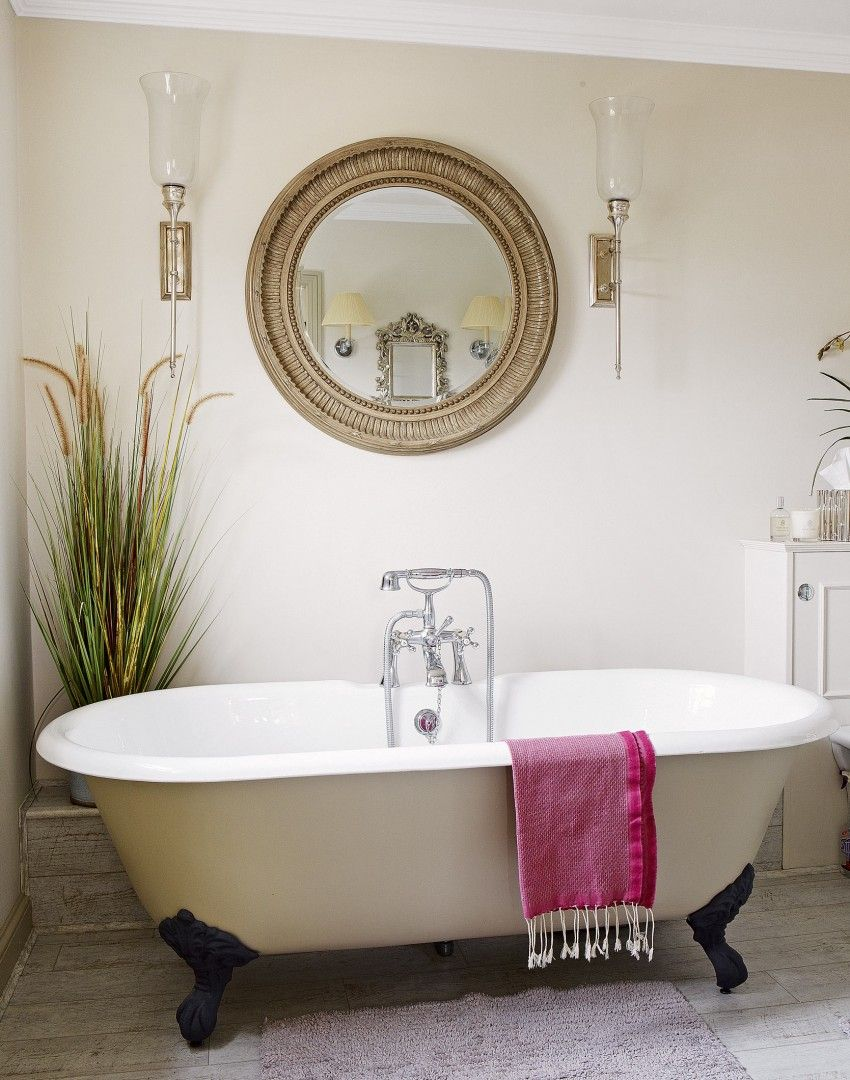 neutral bathroom with statement mirror - bathroom vanity rectangle ...
