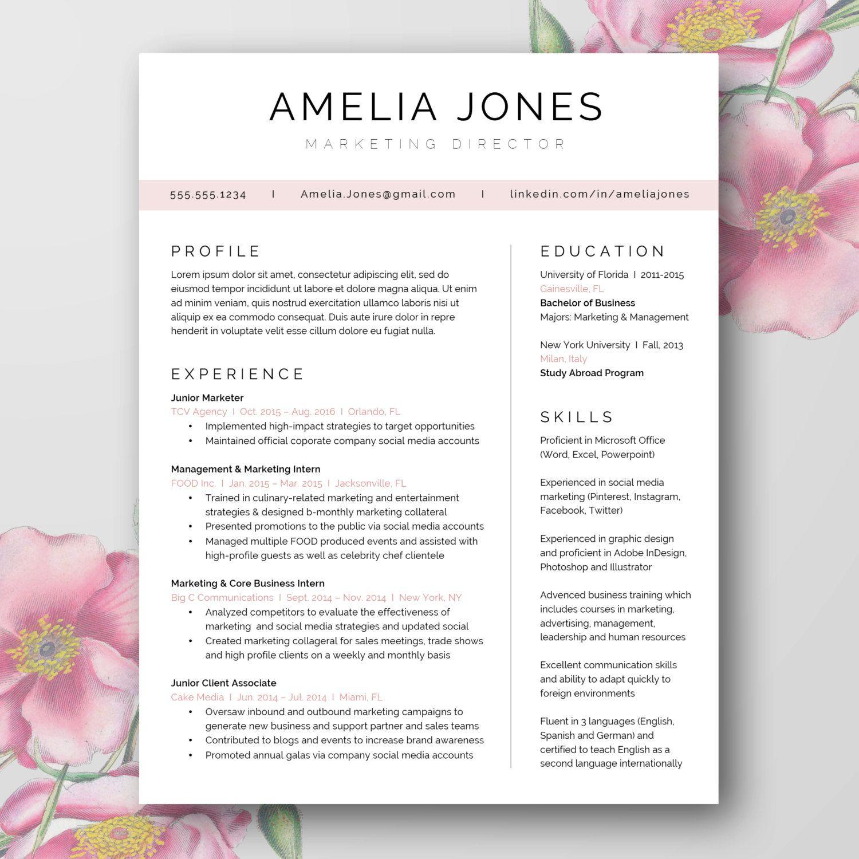 Beautiful Minimal Resume Template (Word Doc) | Plantilla de ...