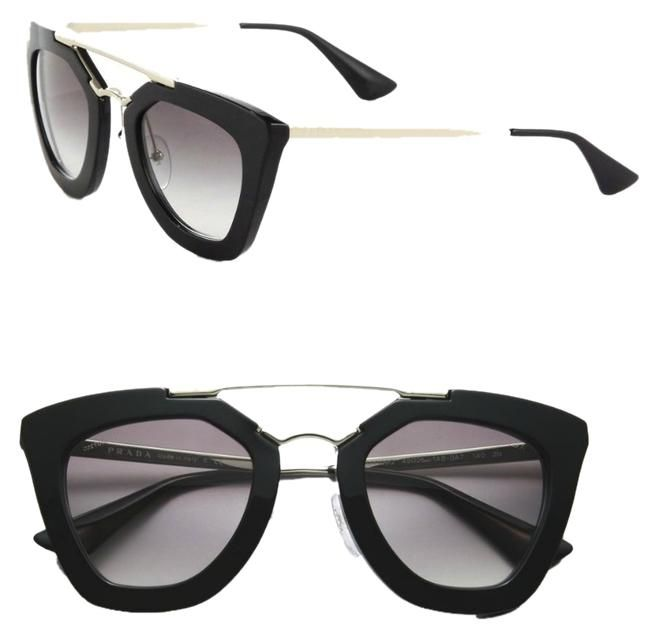 a59dc2cf07d3 PRADA Cinema Cat Eye Double-Bridge Sunglasses Black Light Grey Shaded. Free  shipping