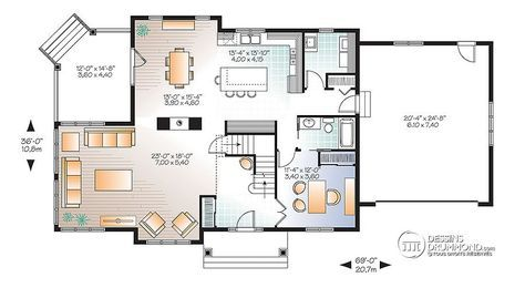 Détail du plan de Maison unifamiliale W3816-V1 PLAN MAISON - plan maison etage m