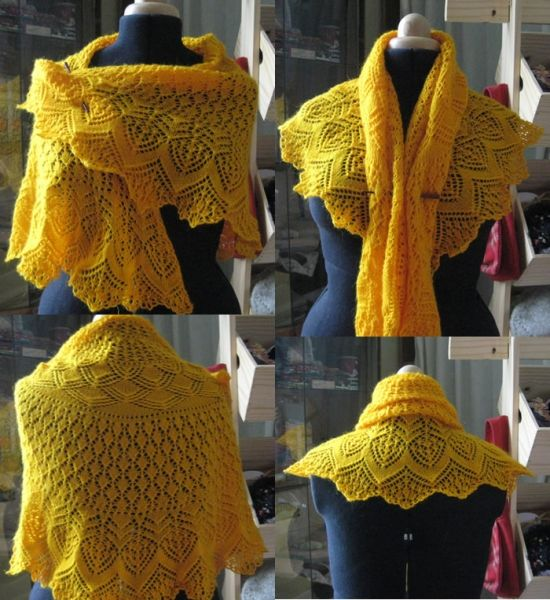 "Knit Shawl ""Golden Flame"""