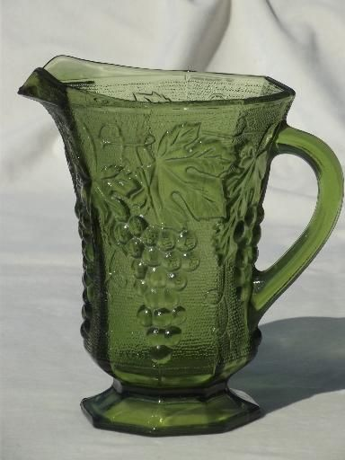 Vintage Anchor Hocking Green Glass Grapes Pattern Pitcher Ah Paneled Grape Green Glassware Vintage Glassware Green Glass