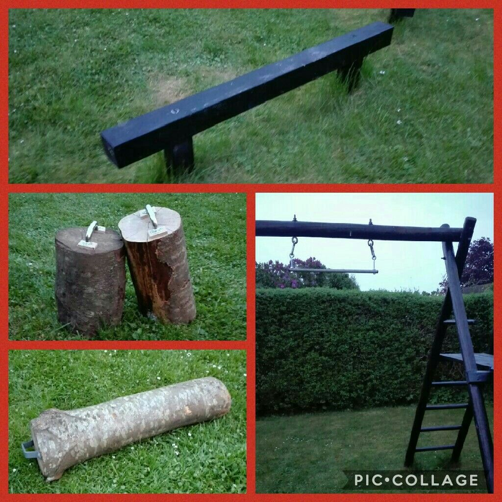 my backyard gym pull up bar log hand weights and bench
