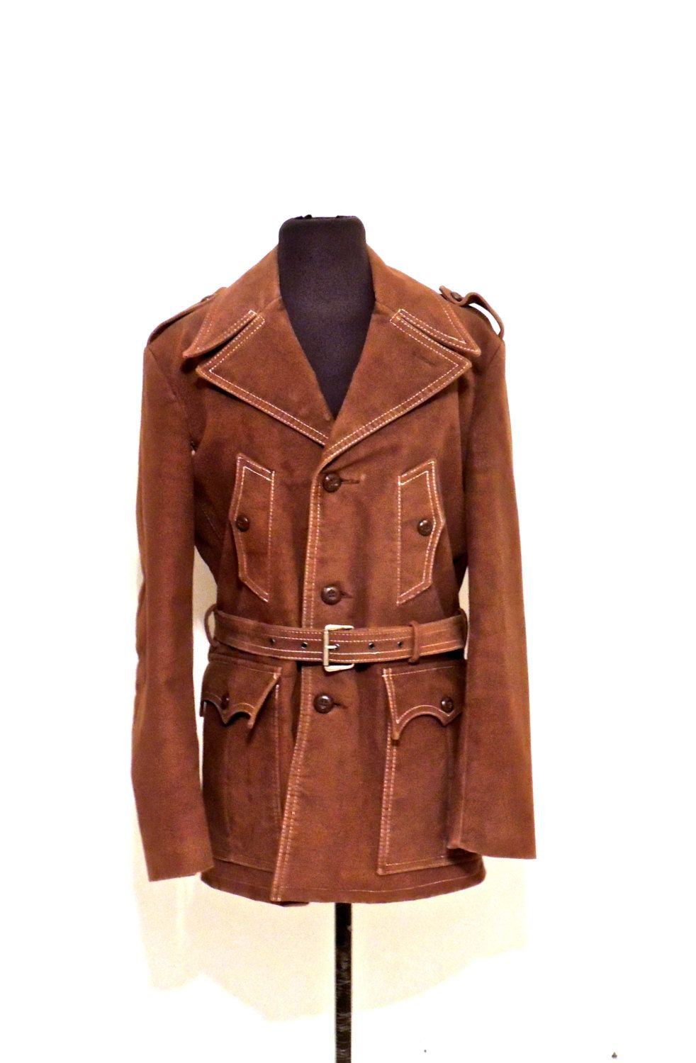 Vintage Belted Suede Coat 1960s 70s Belgica Mode Men S Leather