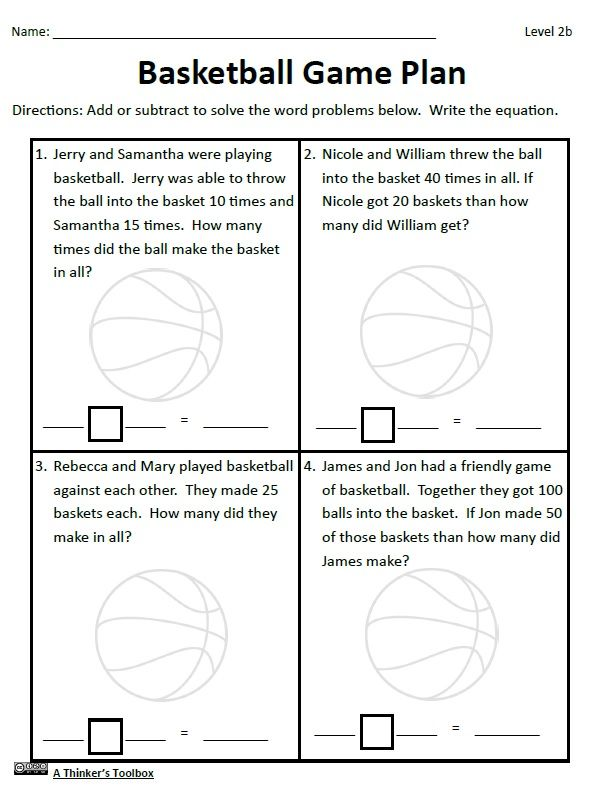 Basketball Math Madness By A Thinker S Toolbox Includes 16 No Prep Math Worksheets That Are Great For 1st And 2nd Math Worksheets Basketball Math Math Madness