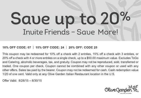 Save up to 20% with Friends | It's Better Together at Olive Garden