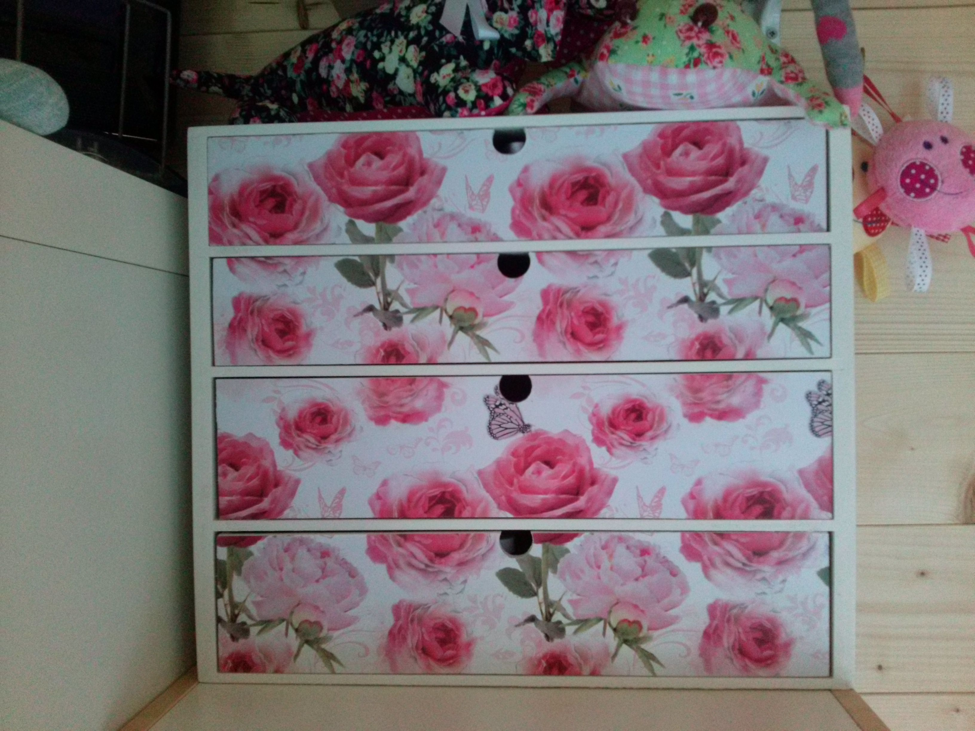 Embroidery thread storage solution. Decoupage and painted mdf drawers.