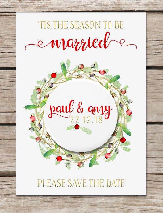 Christmas Wedding Save the Date Magnet Wedding Pinterest