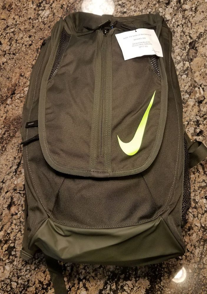 61e440e2fd Nike FB Shield Standard Soccer Backpack BA5083-012 Sequoia Volt School Book  Bag  Nike  Backpack