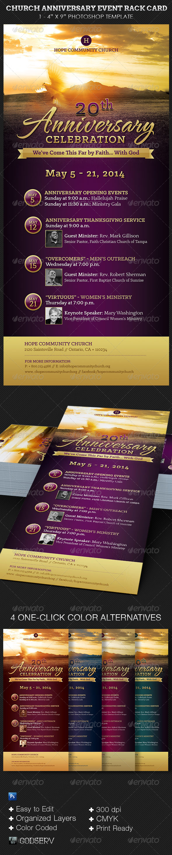 Church Anniversary Events Rack Card Template  Pastor Anniversary