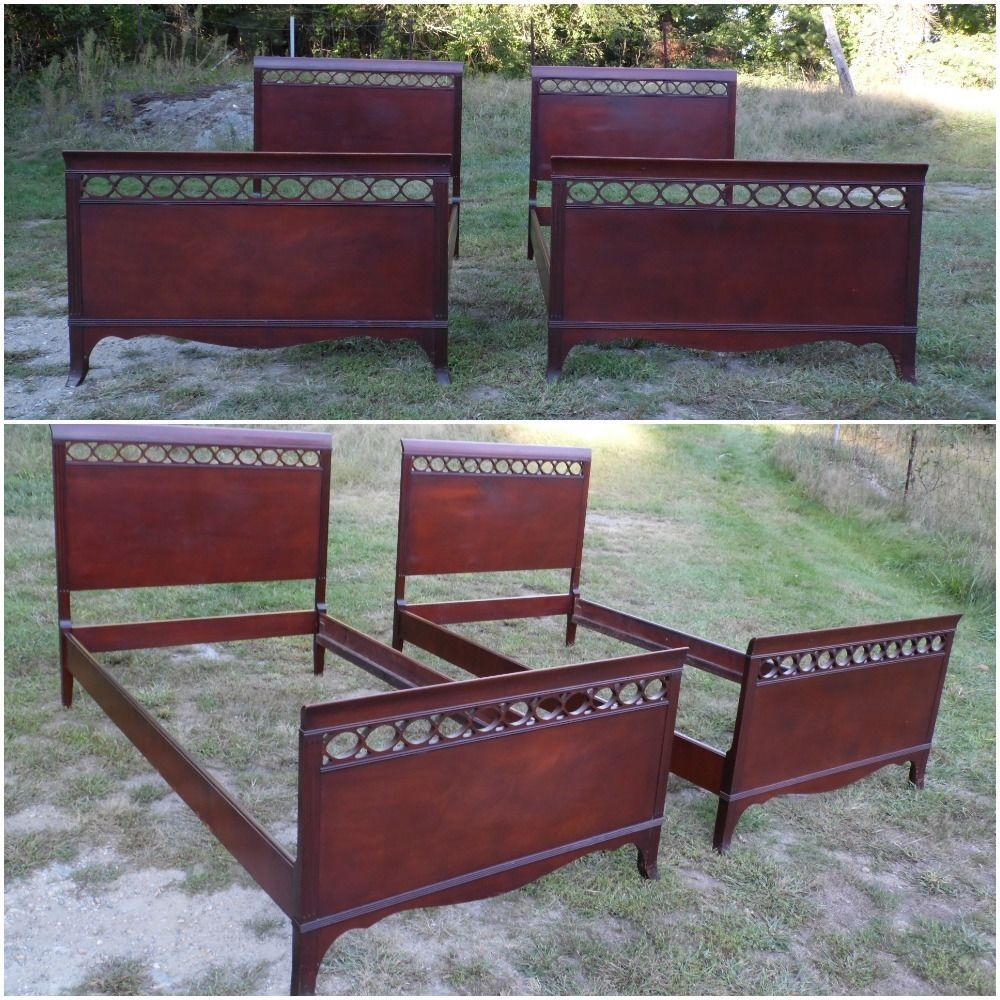 Phenomenal Pair Antique 1940S Mahogany Traditional Federal Single Twin Spiritservingveterans Wood Chair Design Ideas Spiritservingveteransorg