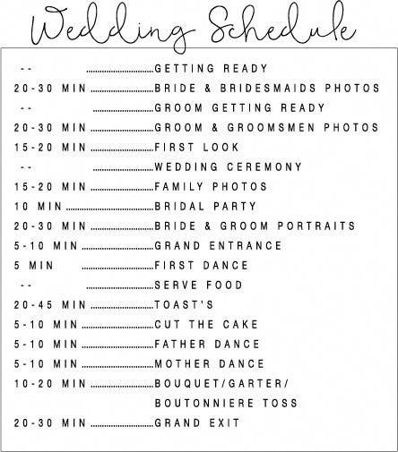 The Best Wedding Schedule Template EVER! #