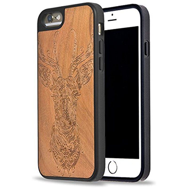 Custom iphone cases carved on natural cherry wood iphone