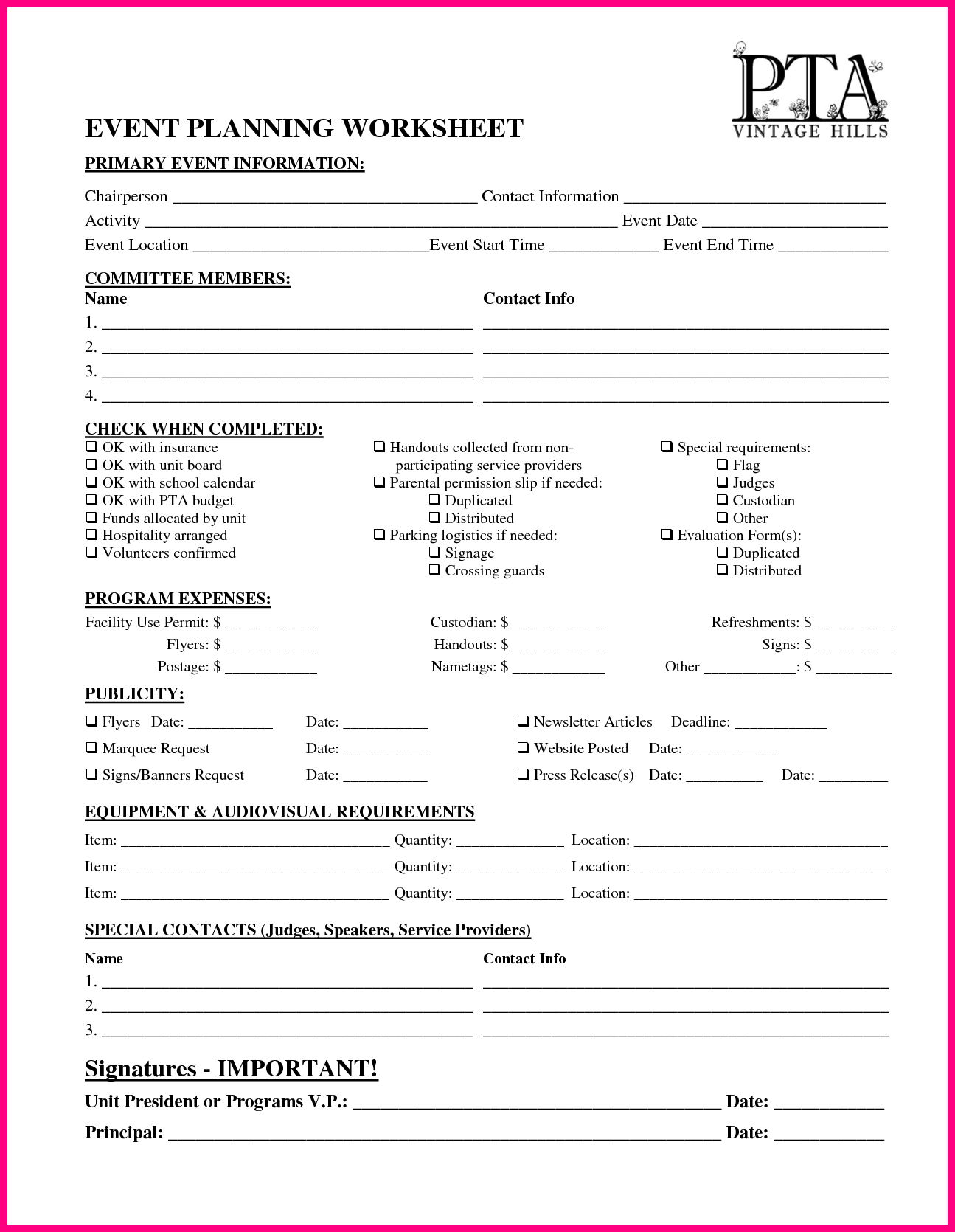 Vhes Pta Event Planning Worksheet By Delrey