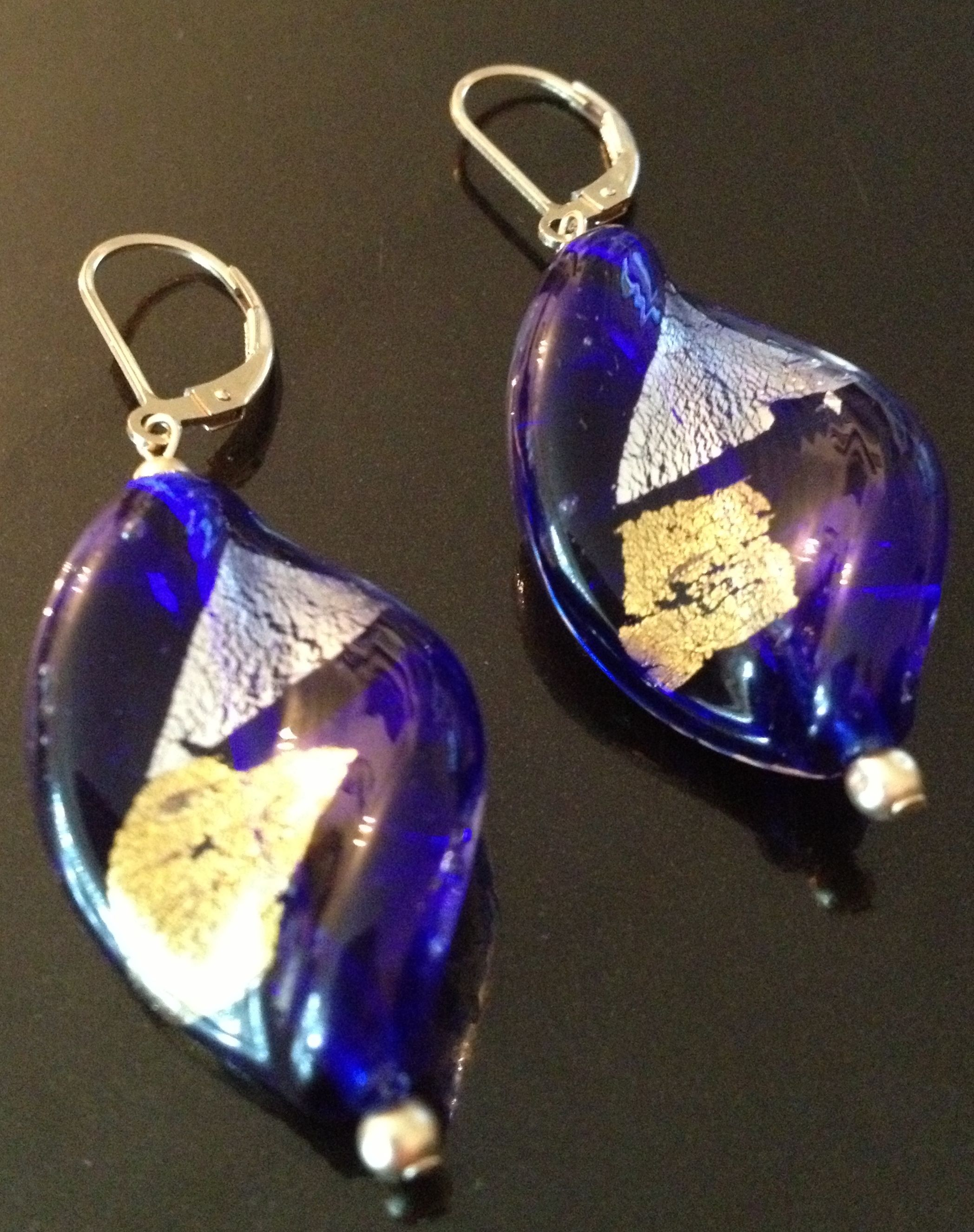 Cobalt Murano Glass Twist Earrings by Ametista Designs