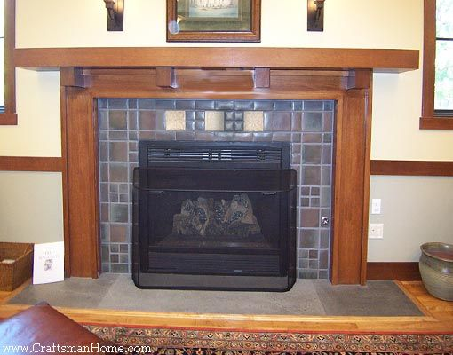 Outstanding Arts And Crafts Tiles Surround A Fireplace With A Craftsman Home Interior And Landscaping Mentranervesignezvosmurscom