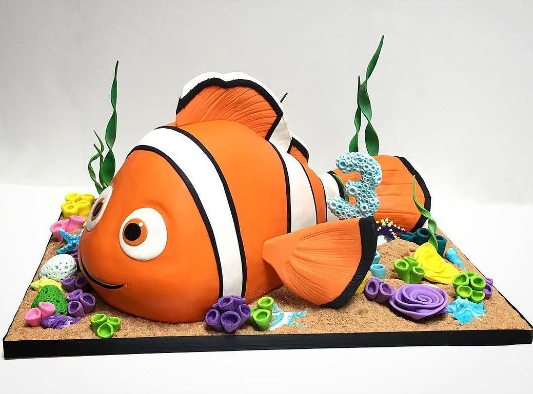D Sculpted Nemo Cake Birthday Cakes Pinterest Nemo Cake D - Nemo fish birthday cake