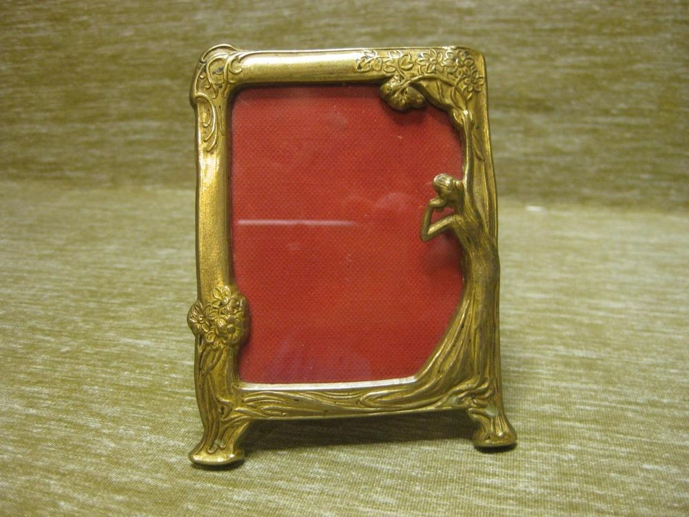 lovely small ornate brass vintage art nouveau photo frame