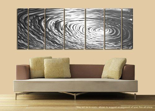 Amazon Com Large Silver Water Inspired Metal Wall Art