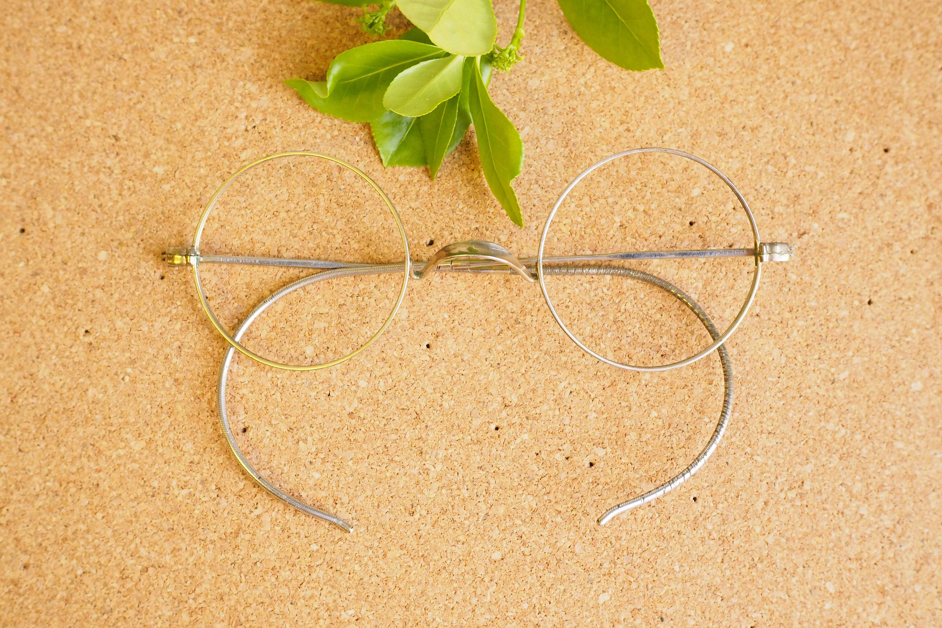 194f895a5e98 Vintage Eyeglasses 1920s Spectacles Round eyeglass Frames Glasses Saddle  Bridge Eyeglass Steampunk Gothic By Shuron Silver and rose gold