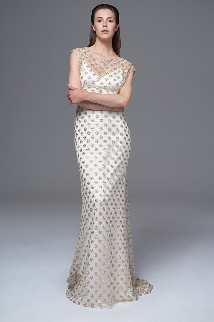 f92c6d1d0492 THE CHLOE GOLD FLOWER DRESS WITH SLASH NECK AND GODET TRAIN. BRIDAL WEDDING  DRESS BY HALFPENNY LONDON