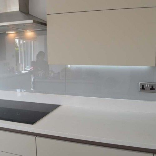 light grey glass kitchen splashback by creoglass design. Black Bedroom Furniture Sets. Home Design Ideas