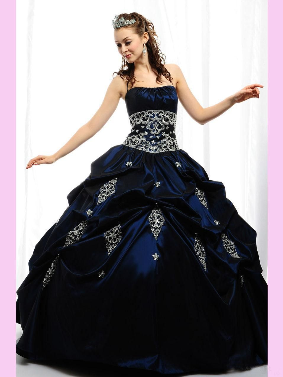 New Arrival 2014 Sweet 16 Dresses Navy Quinceanera Dresses Ball Gown Sweetheart Beads Girls Prom Party Dresses Lace Up Debutante Gowns