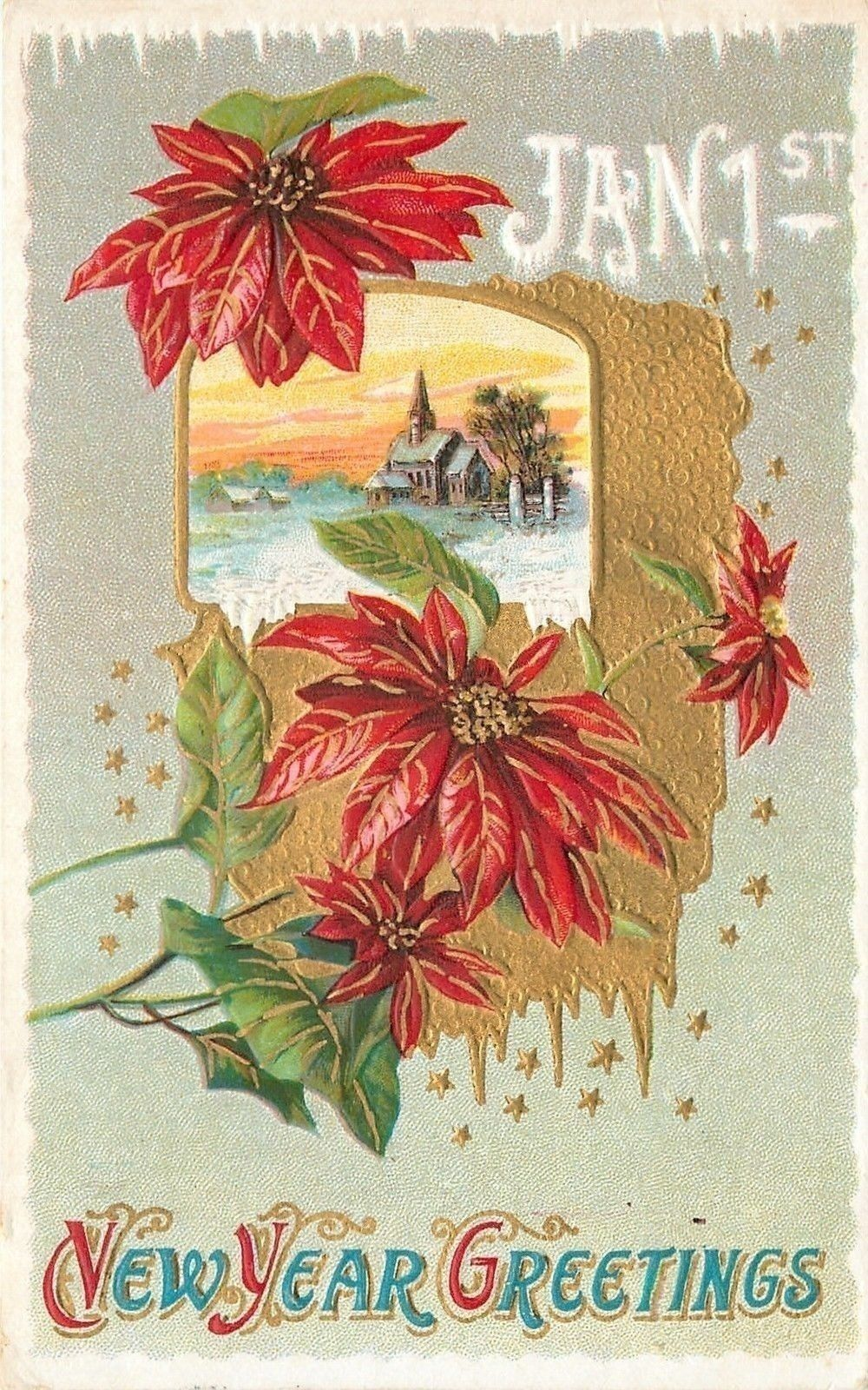 new yearpoinsettias frame country churchsnowy ice bordergold starsemboss ebay
