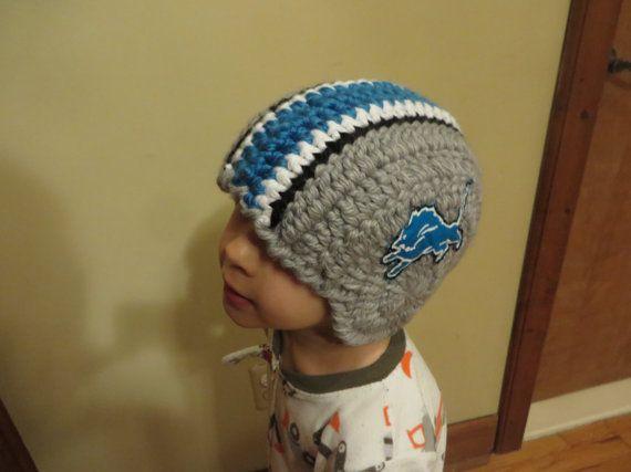 f6624bb4c2265 Detroit Lions Helmet Crochet Winter Hat NFL size S by EcoGreenJean ...