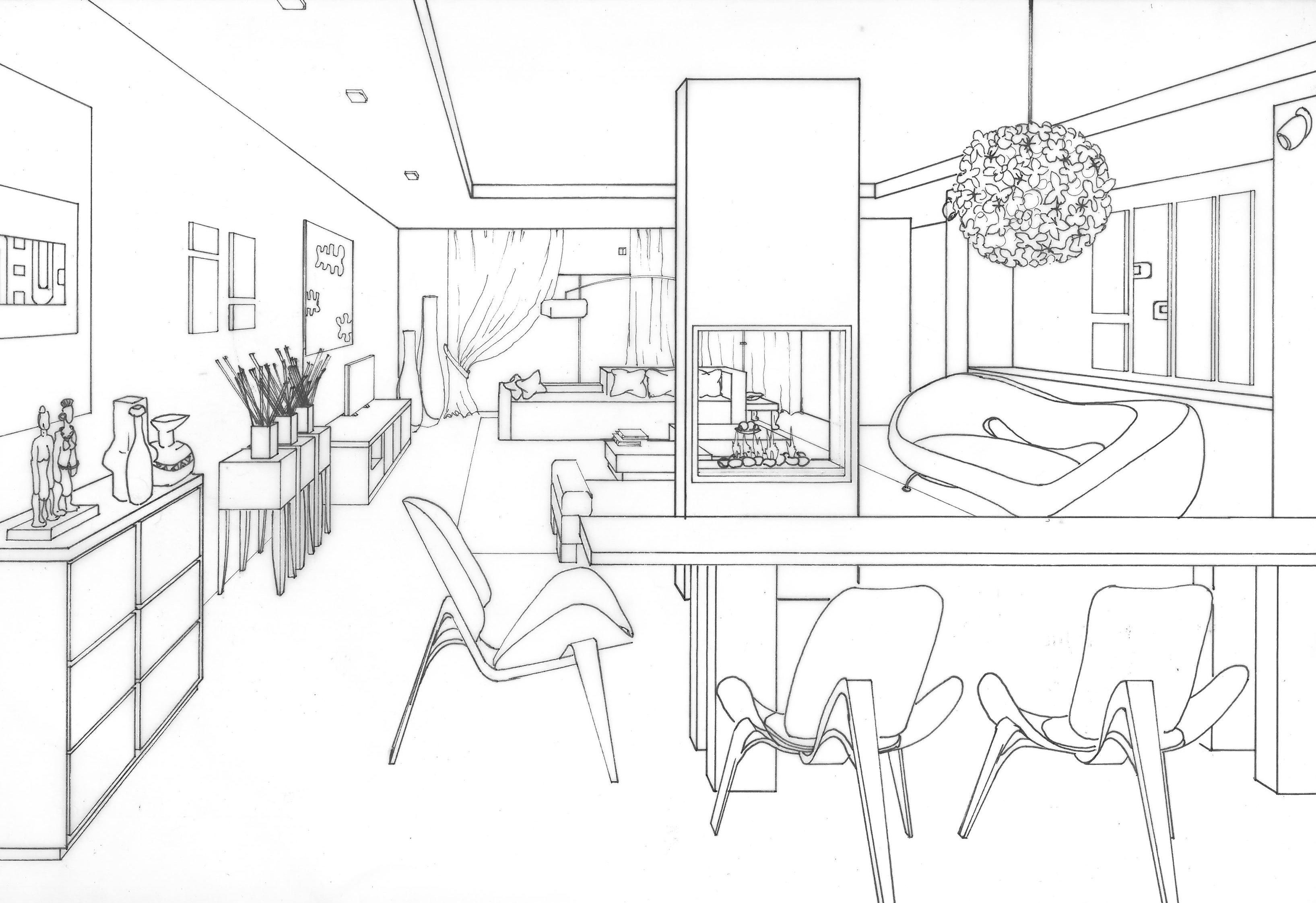 one point perspective drawings - Google Search | Interior design ...