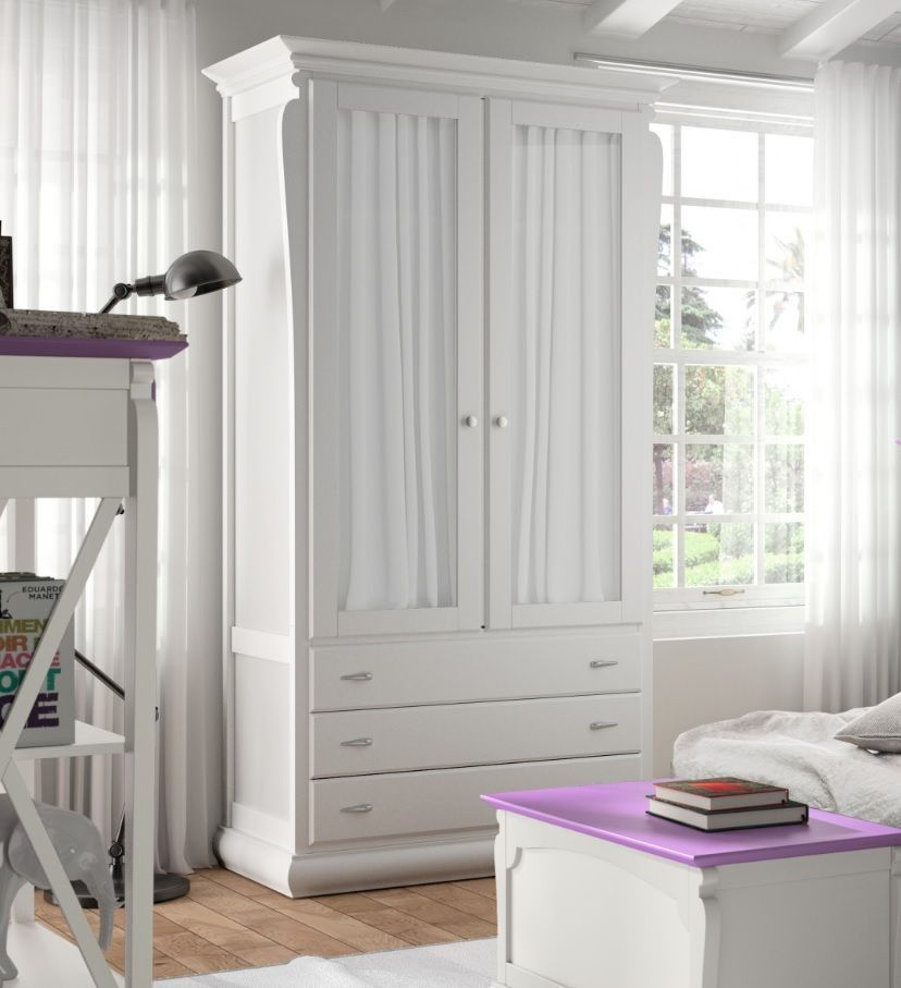 Armario puertas cristal mediterr neo en blanco tosca for Vinilos armarios dormitorio