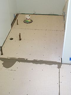 Final Sheets Of Hardibacker Fastened To Bathroom Subfloor - What to use for bathroom subfloor