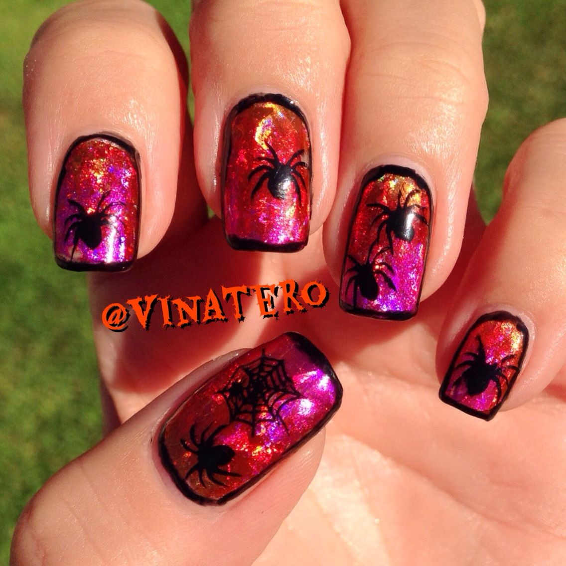 Halloween Spider Nails - with nail Foil Base on Gel Nails and spider ...