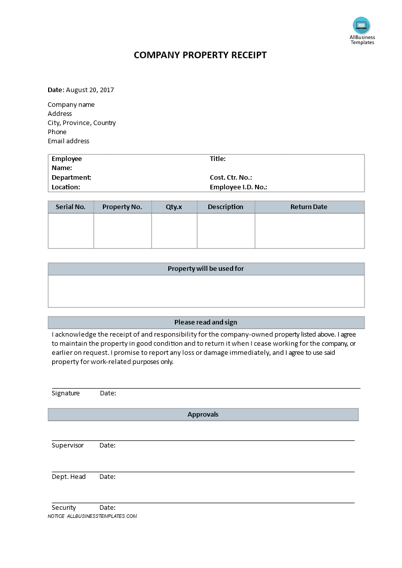 Company Property Receipt How To Write A Company Property Receipt Download This Form For Company To Worker When Receipt Template Templates Business Template