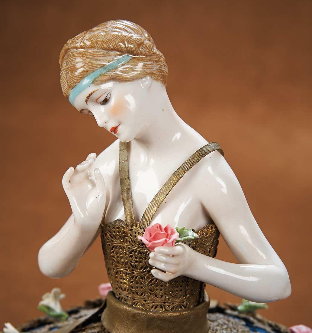 . German Porcelain Half Doll on French Ormolu and Porcelain Vanity Box