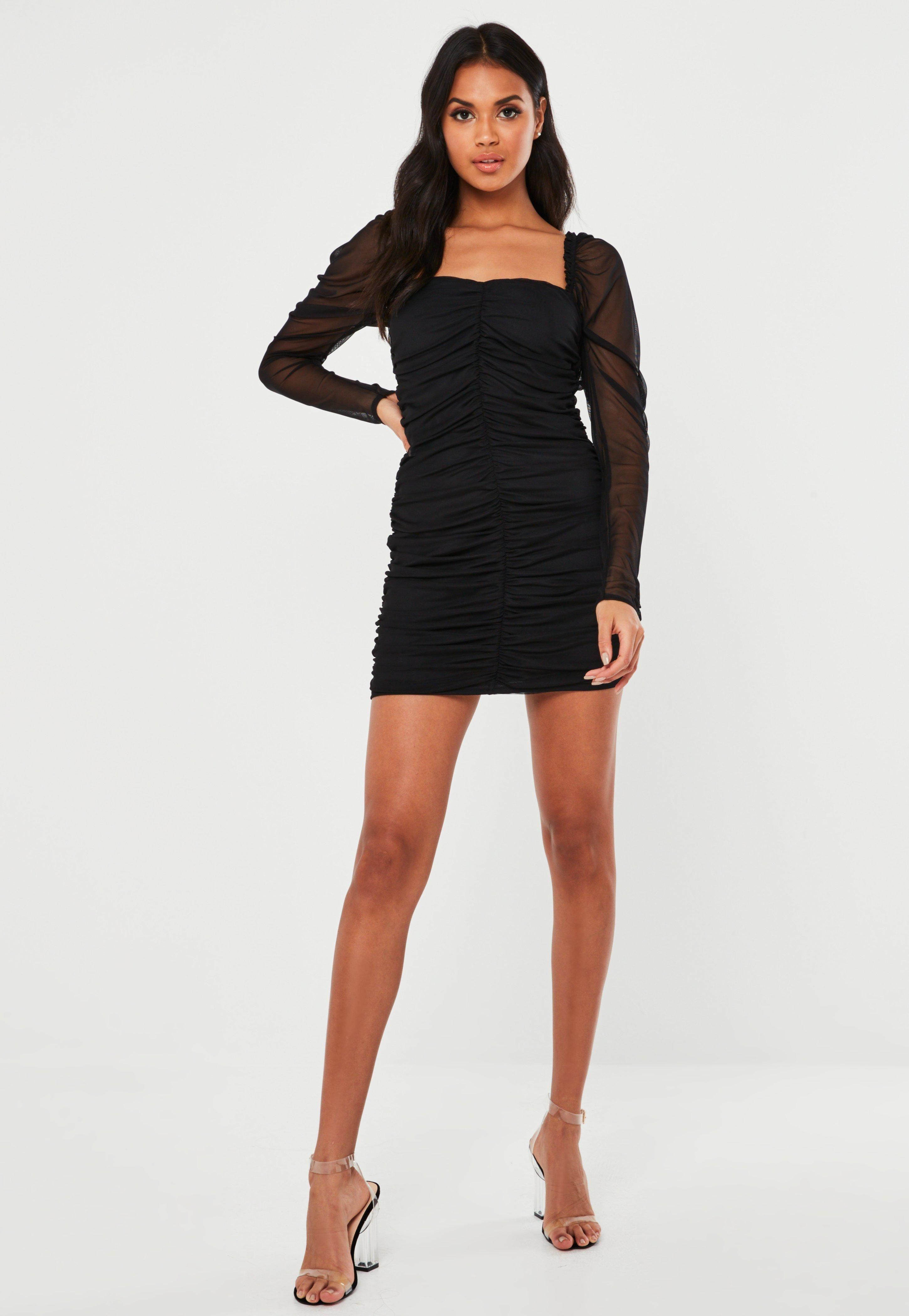 Black mesh ruched long sleeve mini dress sponsored