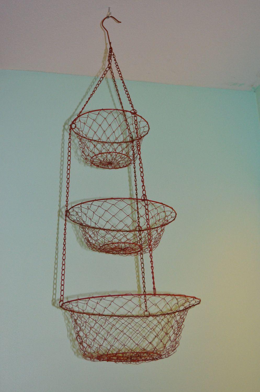 Vintage Red Wire Hanging Basket | Pinterest | Hanging wire basket ...