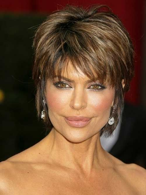 Very Short Brown Layered Pixie Hair For Women Short