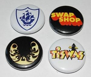 Collection of retro 70s kids TV button badges - Blue Peter