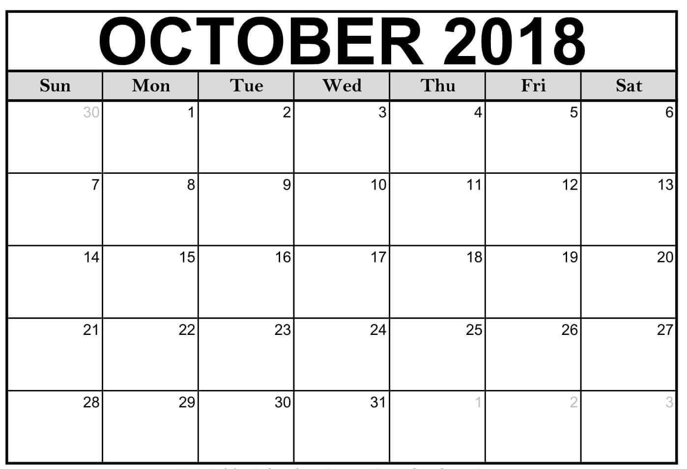 Printable 2018 October Calendar Blank Templates With Holidays
