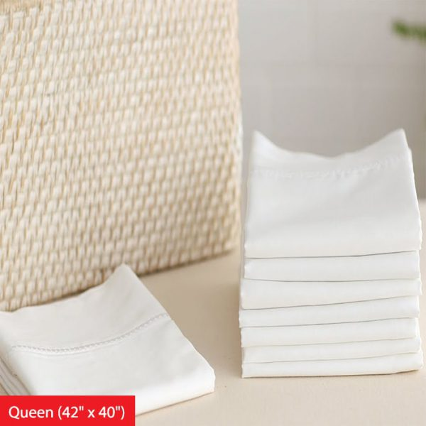 T180 Economy White Bed Sheets Pillow Case (Queen) Hotel