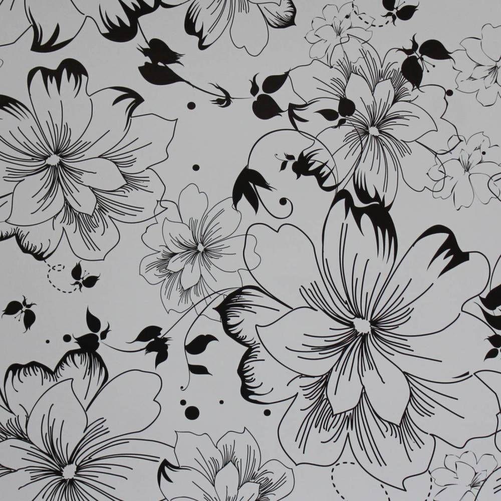 Papel De Parede Floral Delicadas Em Cores Preto E Branco 025
