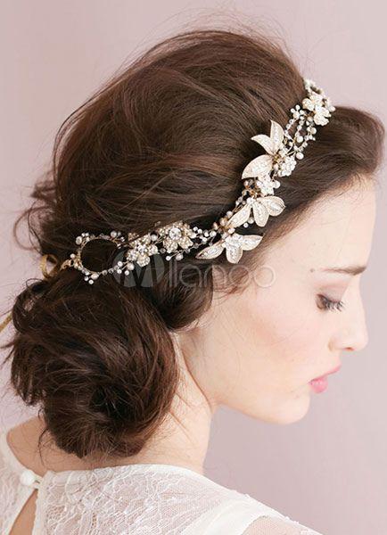 Gold Kopfstuck Kette Kopfbedeckungen Braut Hochzeit Blume Haarreif