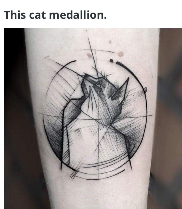 Medallion Style Except Dog Tatuajes Tatuaje Geometrico De Gato