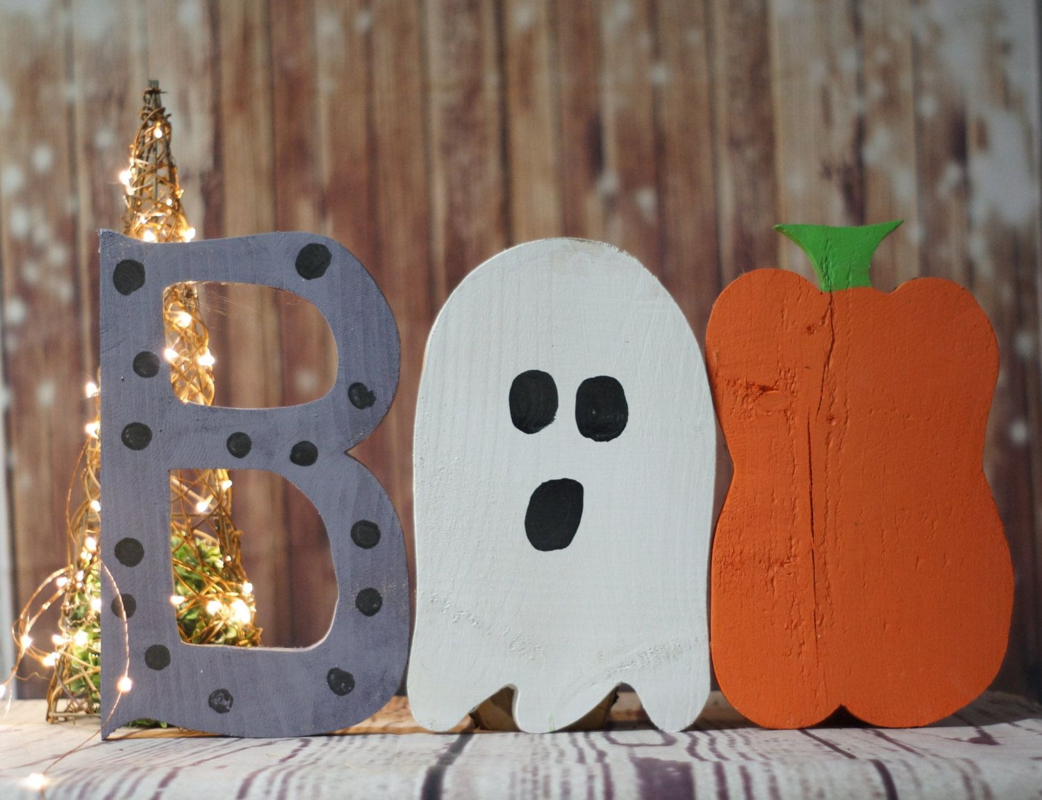 rustic and black decor white halloween