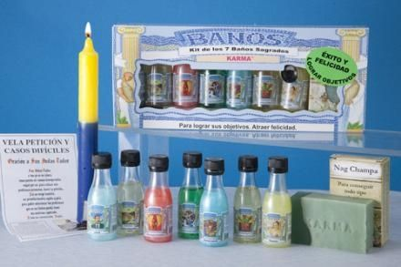 Kit siete baños sagrados para tener suerte y conseguir logros.. Tienda online www.treisytarotgratis.com