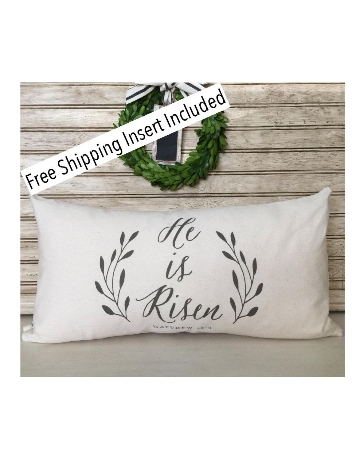 He is Risen | Easter Decor | Rustic Home | Easter Pillow | Custom Pillow - Insert Included by SimplyFrenchMarket on Etsy